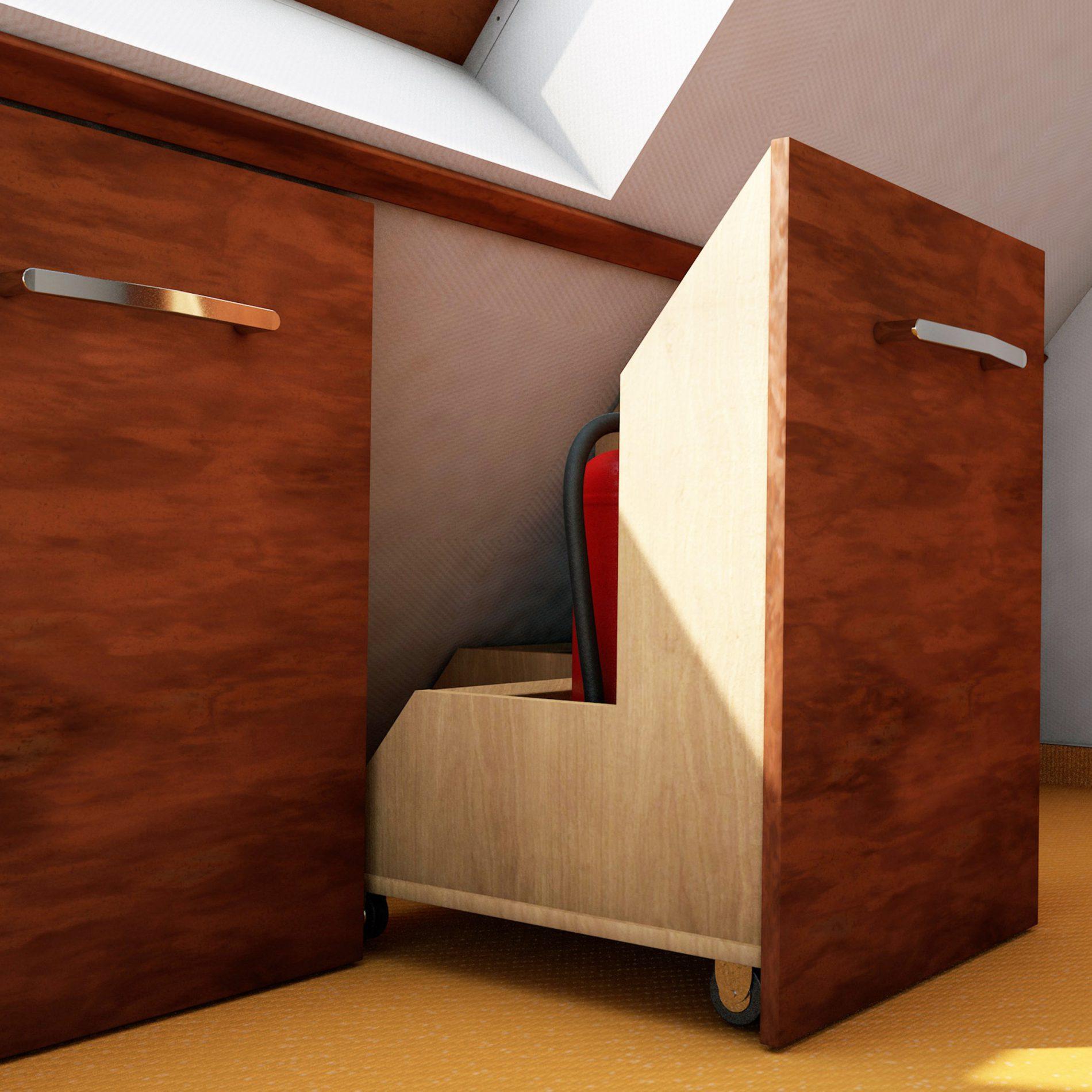 Raumnutzung mit individuellen Möbel bei Dachschrägen