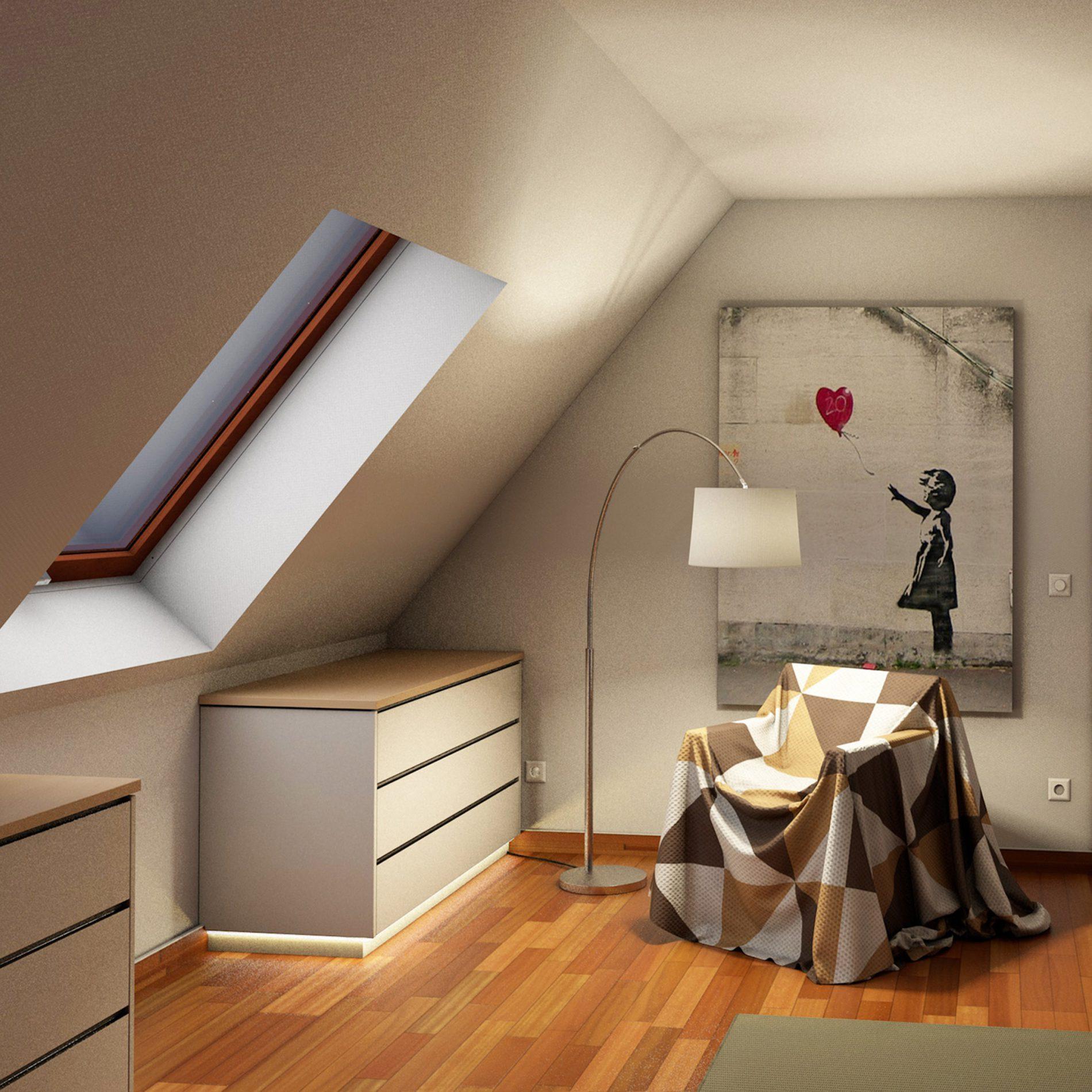 mehrteiliger Drempelschrank für Dachschrägen im Obergeschoss