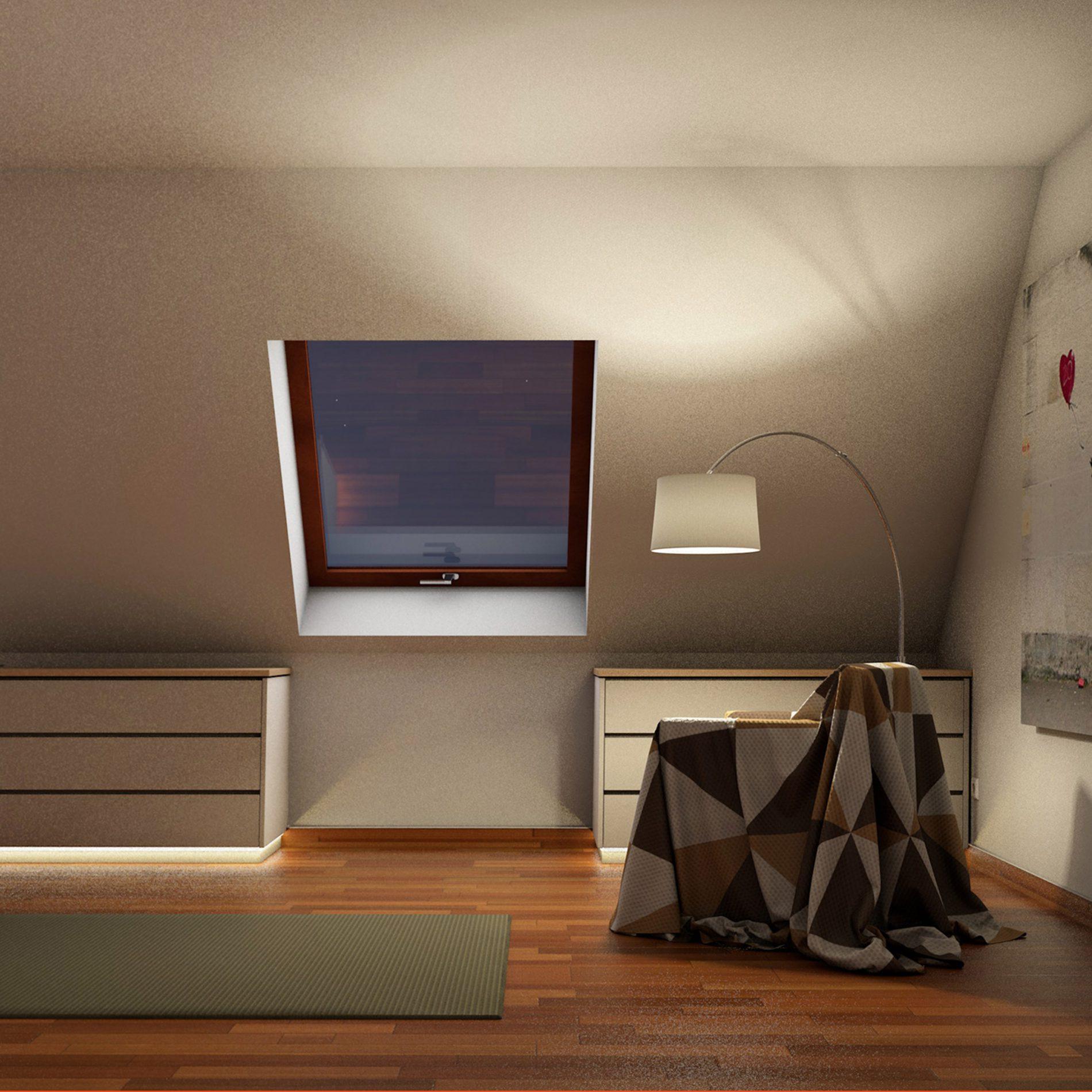 mehrteiliger Drempelschrank für Dachschrägenbereiche im Obergeschoss