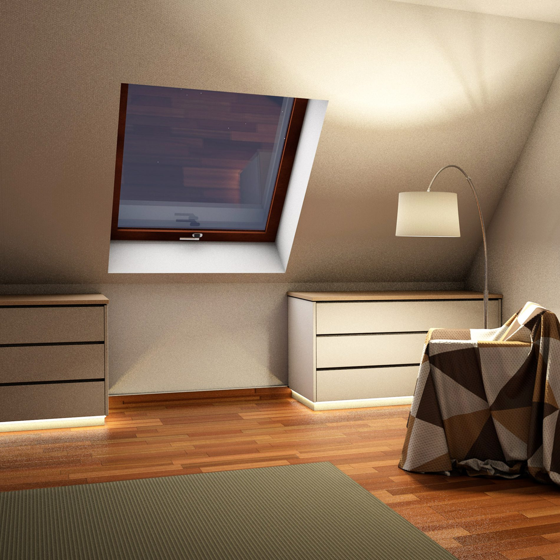 mehrteiliger Drempelschrank für Dachschrägenbereiche im oberen Stockwerk