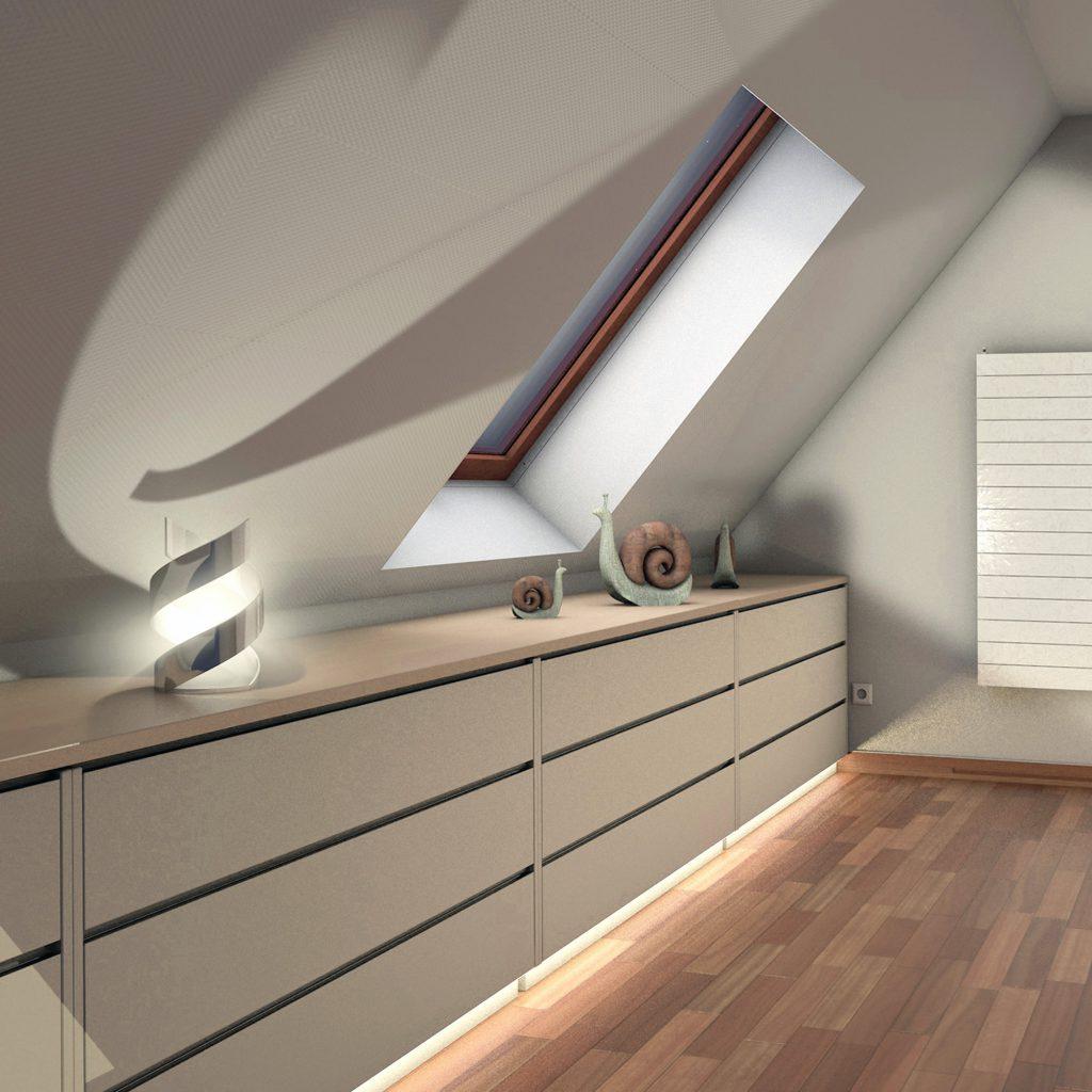 durchgehender Drempelschrank über die gesamte Breite der Räume für Dachschrägenbereiche im oberen Stockwerk